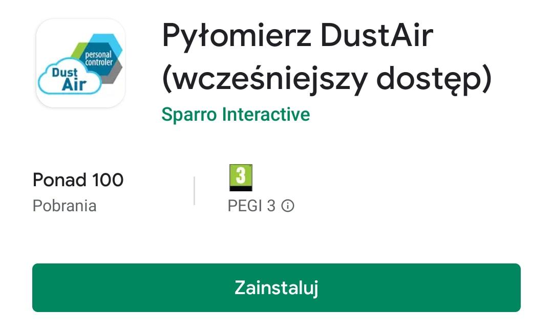 Pyłomierz DustAir aplikacja